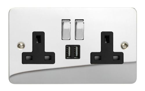 Varilight XFC5U2SDB Ultraflat Polished Chrome 2 Gang Double 13A Switched Plug Socket 2.1A USB